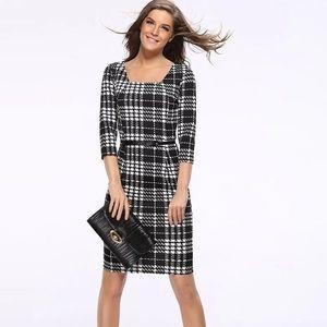 REITMANS Slim black/white plaid dress